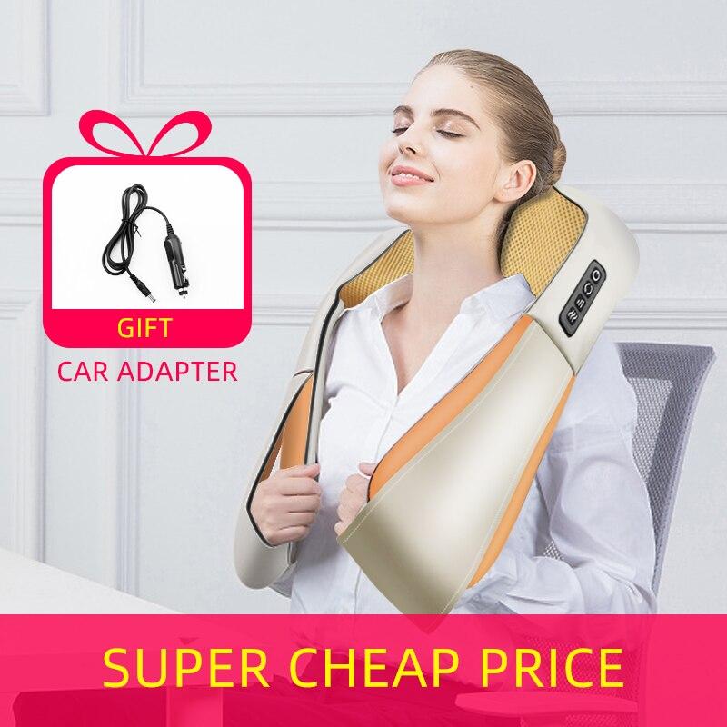 U образный Электрический роликовый массажер для шеи для спины, шеи, плеч, тела, заботы о здоровье, расслабление, инфракрасная массажная подушка с подогревом