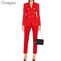 Newest 2020 Designer Career Suit Set for Ladies Shawl Collar Lion Buttons Double Breasted Blazer Pants Suit