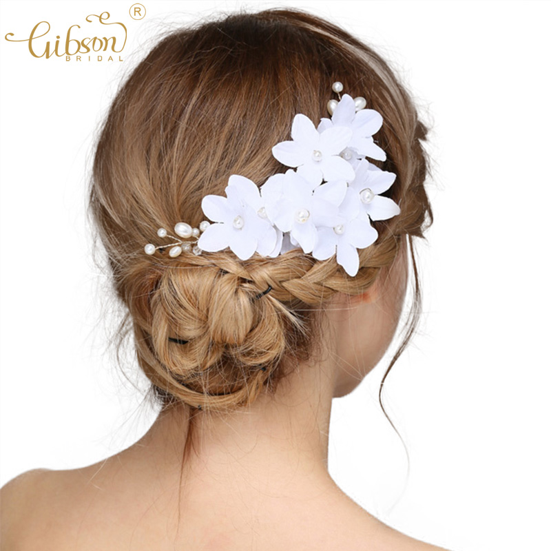 Lady Girl White Wedding Bride Bridal pearl Flower Party Hair Headband Band Prop