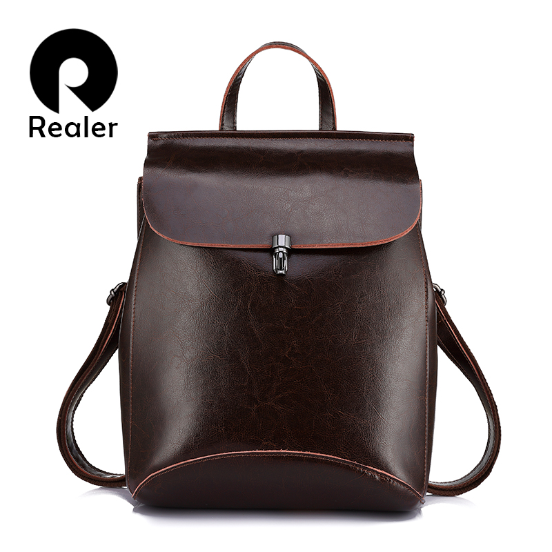 REALER Women Backpack Split Leather Backpack School Bag For Teenagers Vintage Bag Pack Large Travel Bag Female Shoulder Bag