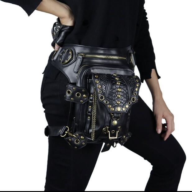 Motocicleta bolso steampunk cintura saco rebite vintage feminino plutônio