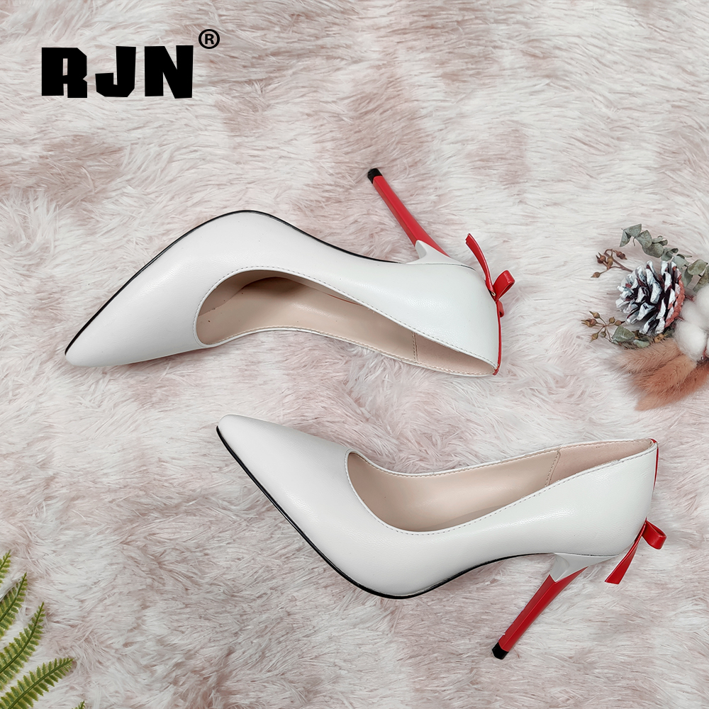 Buy RJN Fashion Butterfly Lady Pumps High Quality Sheepskin Party Cute Thin High Heel Pointed Toe Shoes Handmade Shallow Pumps RC661