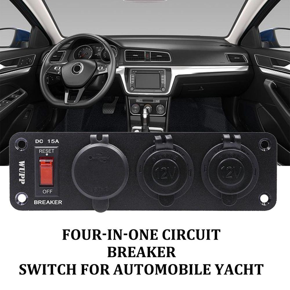 4 In 1 Switch Panel Dual USB Fast Charging Digital Display Voltage Meter Double Cigarette Lighter Socket For Auto Yacht