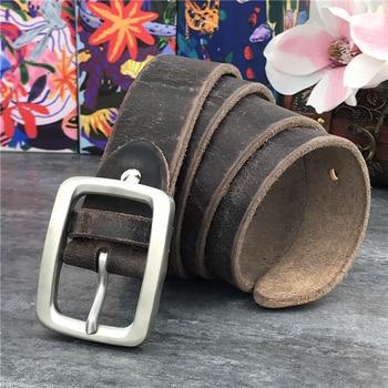 Stainless Steel Belt Buckle Mens Belts Luxury Super Thick Genuine Leather Belt Ceinture Belts Men Leather Waist Belt SBT0002