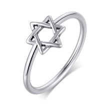 Charm Star Of David Ring For Women Stainless Steel Silver Color Magen David Jewish Jewelry(China)