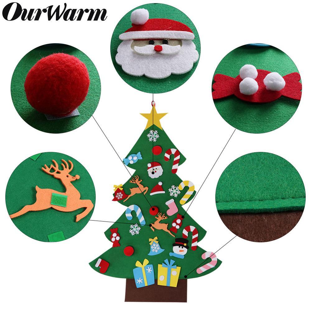 OurWarm Sentiu Árvore De Natal Do Boneco de neve de Papai Noel Adesivo Pendurado Brinquedos Presentes de Ano Novo Festa de Natal Decoração Enfeites de Crianças Entre Pais e filhos