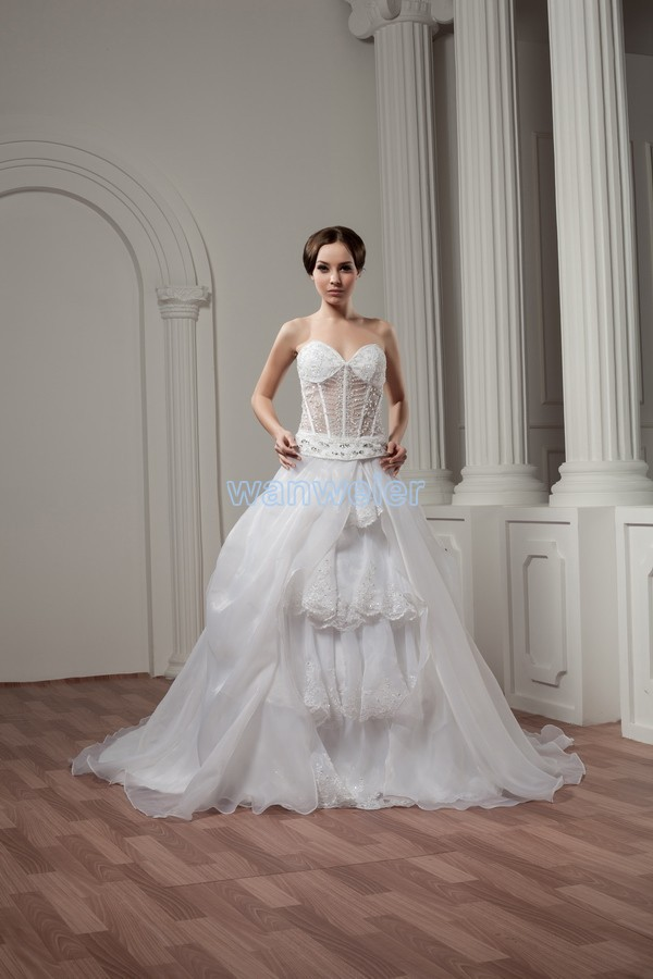 free shipping really picture 2016 drag star new design beading train white custom size/color bridal gowns sexy wedding dresses image