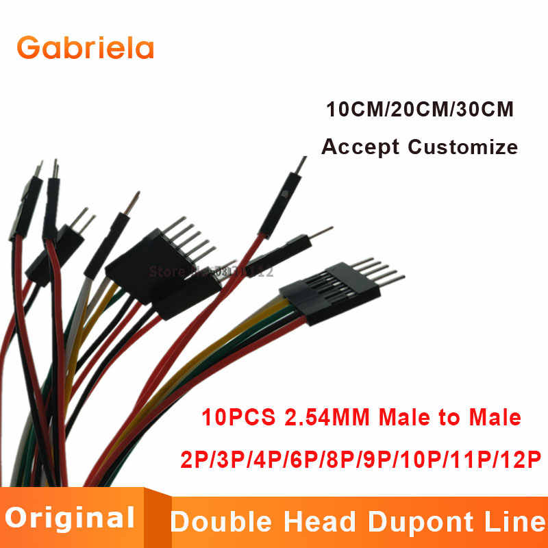 10PCS 2.54MM 2.54 Wire Dupont Line male to male 1P2 3 4 5 6 7 8 9 10 12 Pin Dupont cable connector JUMPER CABLE WIRE FOR PCB