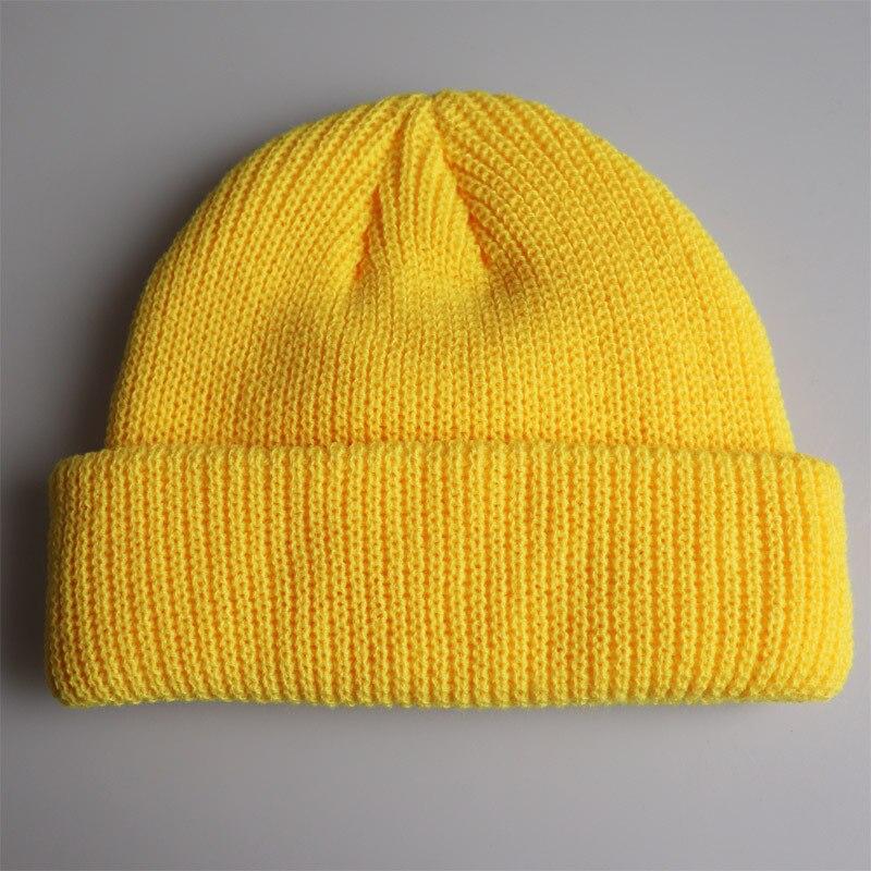 Beanies-Hat Knit Cap Navy Skullies Orange Beige Black Yellow Women Winter Short Solid