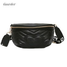 Guarder Love Heart Pattern Waist Bag For Women Pack Female Zipper Belt PU Leather Chest Handbag Wild GUA0025