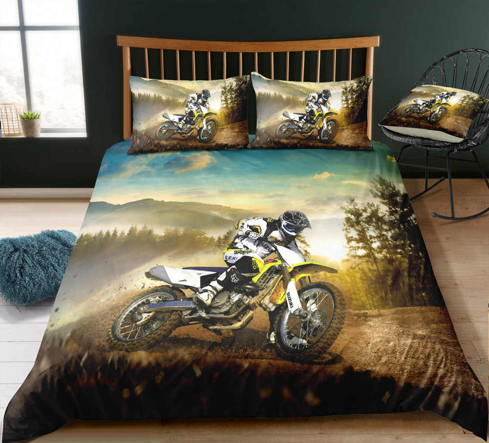 Motorcycle Duvet Cover Sets,Motorbike Rider Motocross Wild Field Dust Mountain Printing,Boys  Home Bedroom Decor Bedding Sets