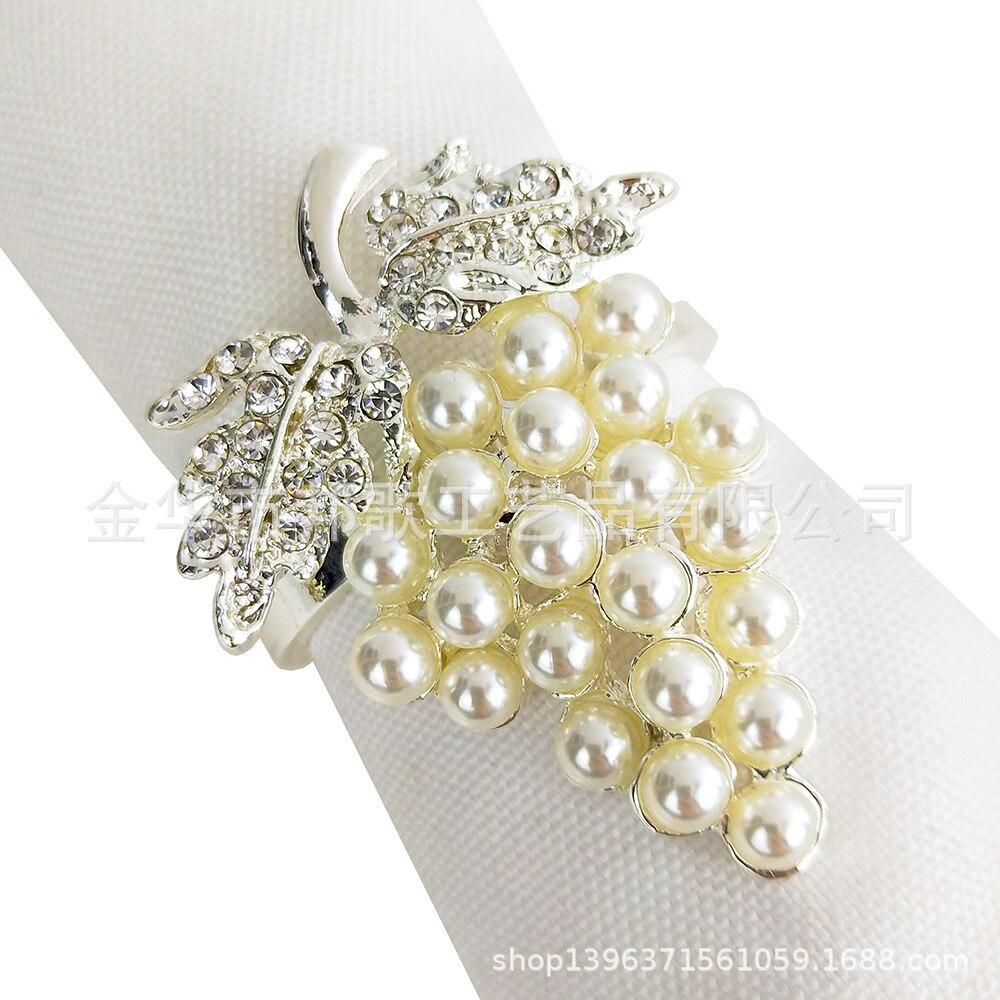 Silver Grape Napkin Ring Highlight Pearl + Man-made Diamond Delicacy Elegance Wedding, Hotel Tabletop Decoration Can Jin Kou