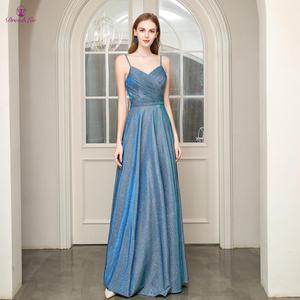 Image 1 - Длинное платье для выпускного вечера, ТРАПЕЦИЕВИДНОЕ ПЛАТЬЕ на тонких бретельках с открытой спиной, плиссированное платье для выпускного вечера, молодежное деловое вечернее платье