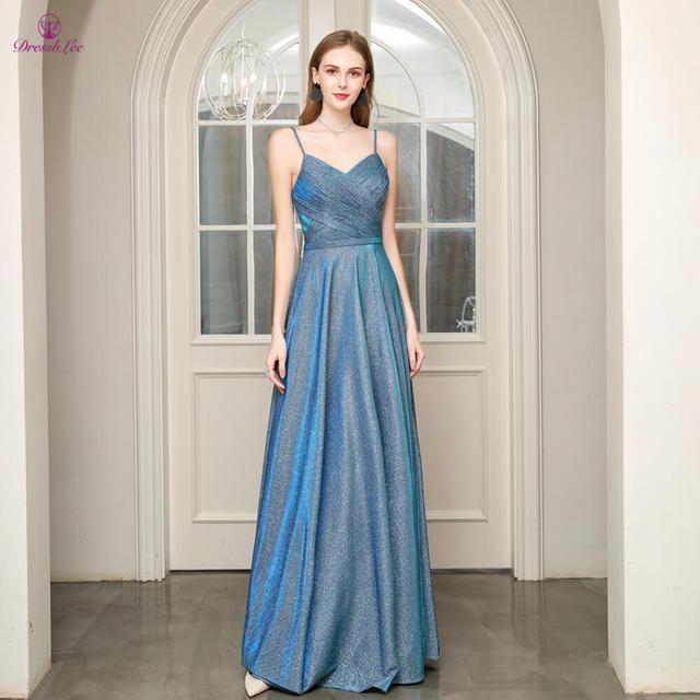 Длинное платье для выпускного вечера, ТРАПЕЦИЕВИДНОЕ ПЛАТЬЕ на тонких бретельках с открытой спиной, плиссированное платье для выпускного вечера, молодежное деловое вечернее платье