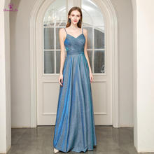 Vestido De Festa Lange Prom Dress A lijn Spaghetti Strap Backless Plooi Prom Dresses Jeugdige Formele Party Gown