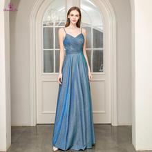 Vestido · ド · フェスタロングドレス a ラインスパゲッティストラップ背中プリーツウエディングドレス若々しいフォーマルパーティードレス