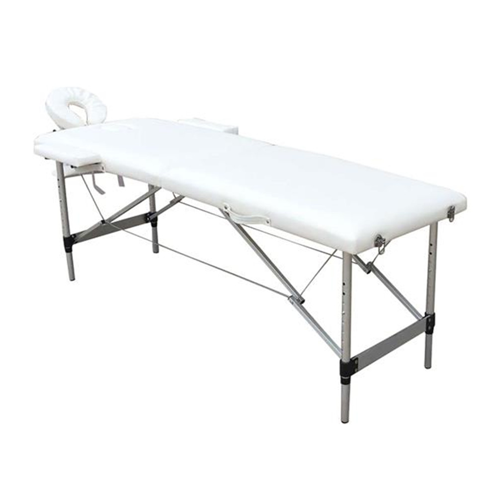 2 Sections Folding Portable SPA Bodybuilding Massage Table White Beauty Bed