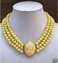 FREE 3Row Yellow Pearl Necklace Cameo Beauty Clasp AAA(China)