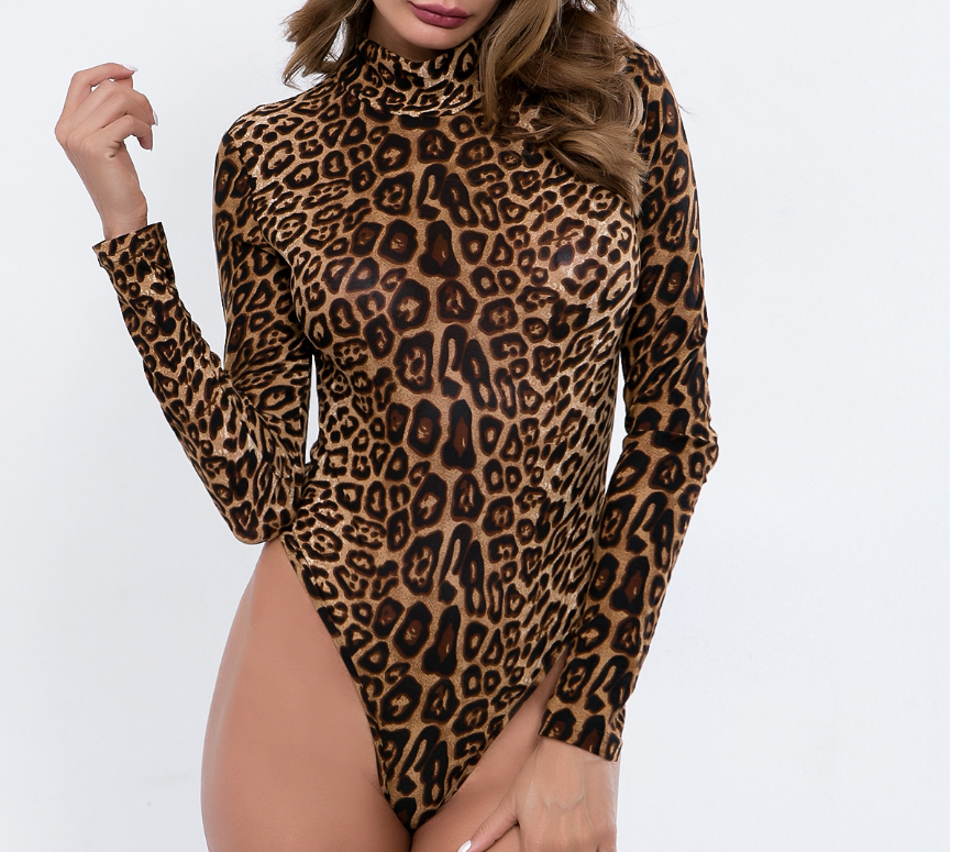 Sexy Leopard Printed Bodycon Bodysuits 2020 Spring Women Long Sleeve Mock Neck Skinny Body Suit Shorts Jumpsuits