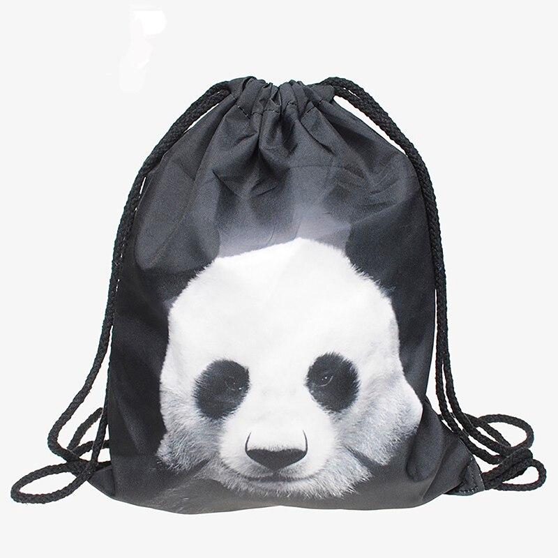 Pocke Trope Women Backpack Panda 3D Printing Travel Softback Women Drawstring Bag Mens Backpacks Bags Bundle Fashion Shouder New