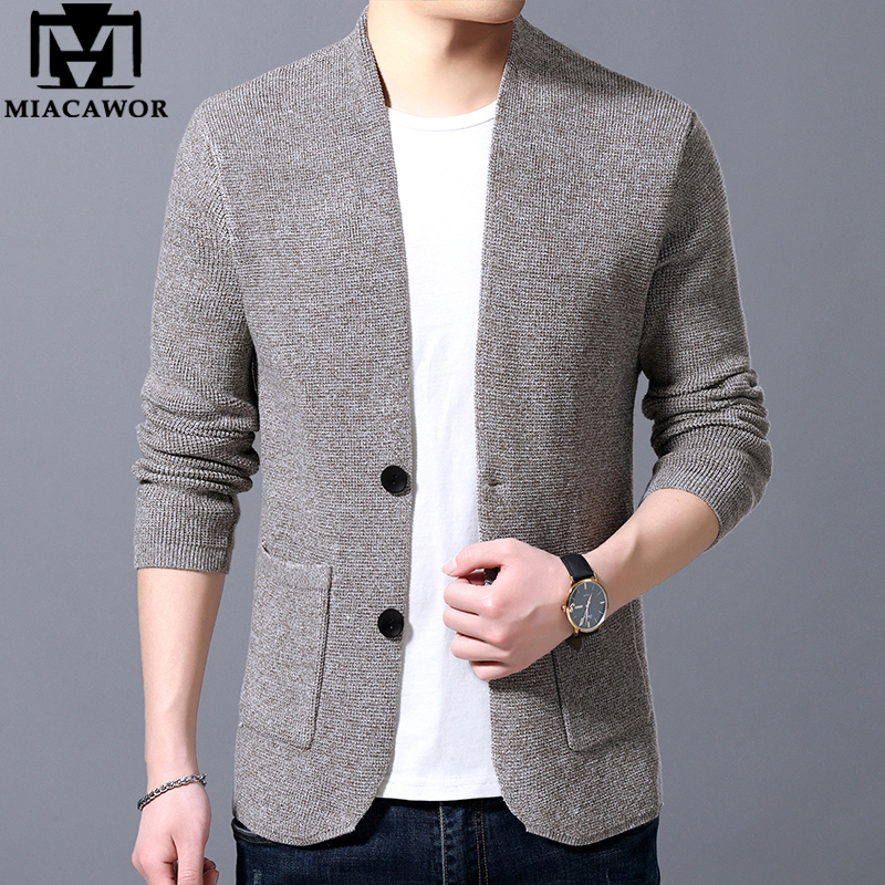 MIACAWOR Sweater Men High Quality Cardigan Men Autumn Knitted Cotton Wool Sweater Coats Fashion Slim Fit Pull Homme Y160