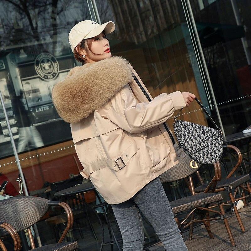 2019 Winter New Fox Fur Big Hooded Collar Jackets Women Rabbit Fur Liner Removable Casual Jackets and Coats (Black ,Khaki,Grey)
