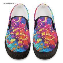 Twoheartsgirl/Цветная Вулканизированная обувь с граффити для мужчин; повседневные мужские кроссовки без шнуровки; удобные мужские парусиновые туфли на плоской подошве на заказ