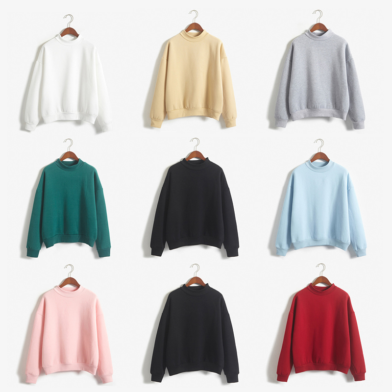 2019 Winter Women Solid Color Hoodie Round Collar Casual Sweatshirt 9 Color Women Blouse Size S-XXL
