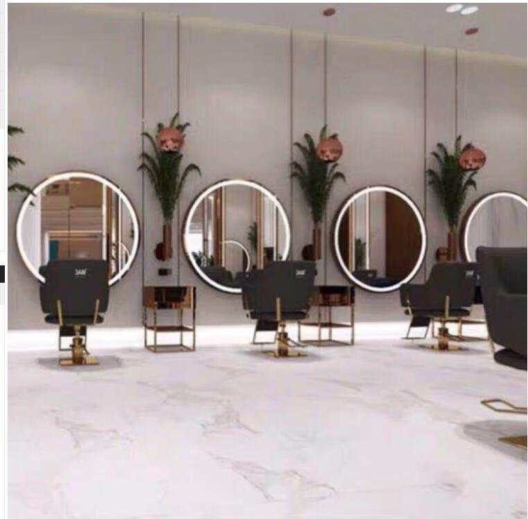 Web Celebrity Hair Care Led With Light Mirror Barbershop Hair Salon Dedicated Single Japanese Round Mirror Hair Cutting And Dyei