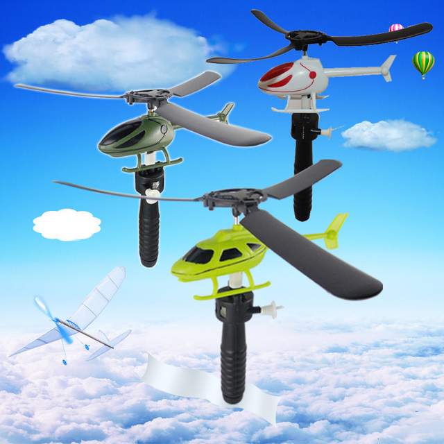 17cm Handle Pull Helicopter Plane New Aviation Model Copter Outdoor Toys for Kids Gifts For Beginner 5 Styles Random