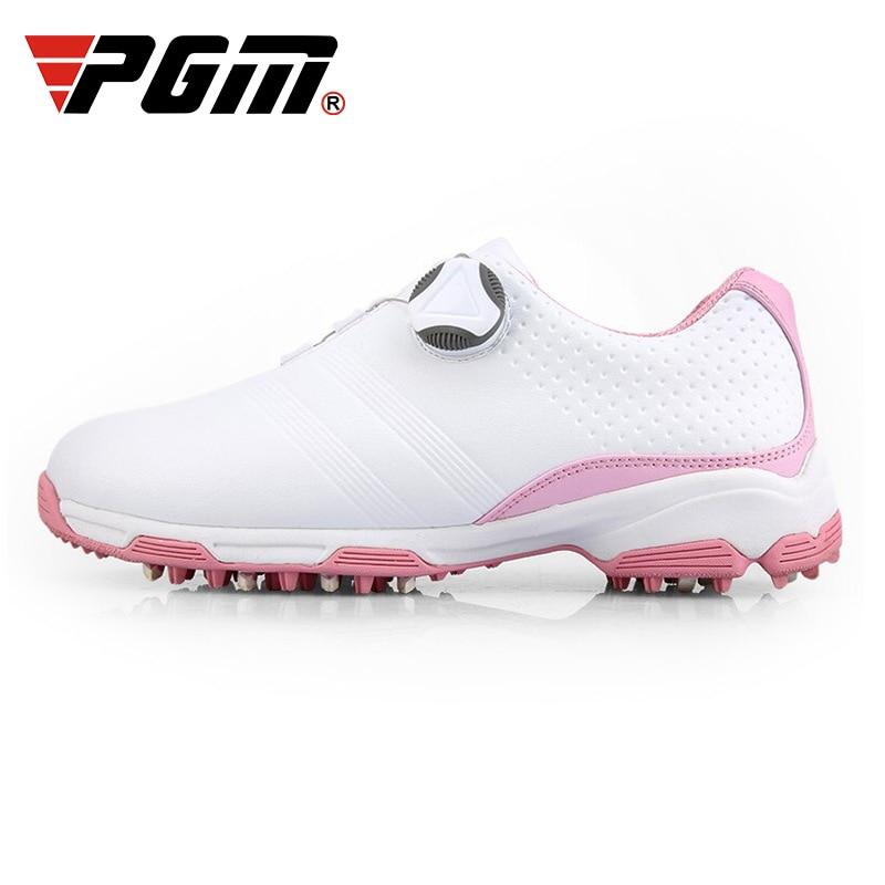 Sapatos de Golfe à Prova Sapatos de Treinamento Mulher Spikes Antiderrapante D0água Respirável Fivela Cadarços Tênis Esportivos D0753 Pgm