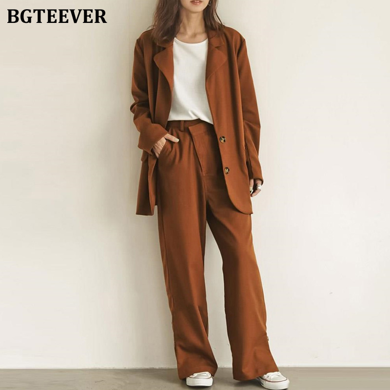 BGTEEVER Casual Loose 2 Pieces Set Single-breasted Jacket & Straight Pant Female Blazer Suit 2020 Spring Pant Suit Women