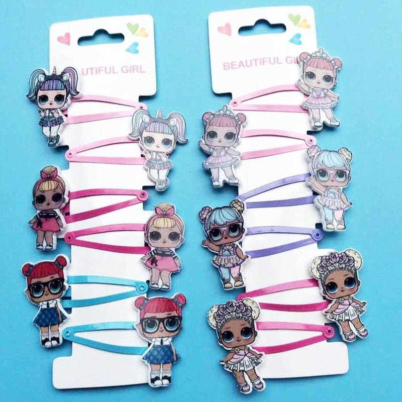 6pcs LOL Surprise Dolls Hairpin Rubber Band Hair Accessories Cartoon Resin Printing Accessories A Set Girl Headdress