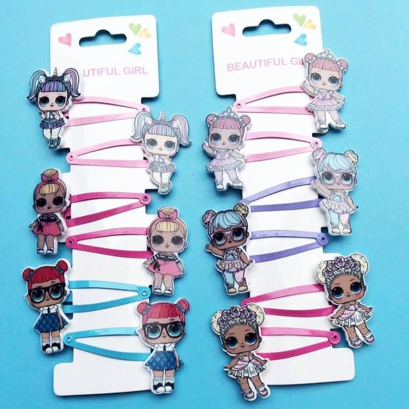 6pcs LOL Surprise Dolls Hairpin Rubber Band Hair Accessories Cartoon Resin Printing Accessories A Set Girl Headdress