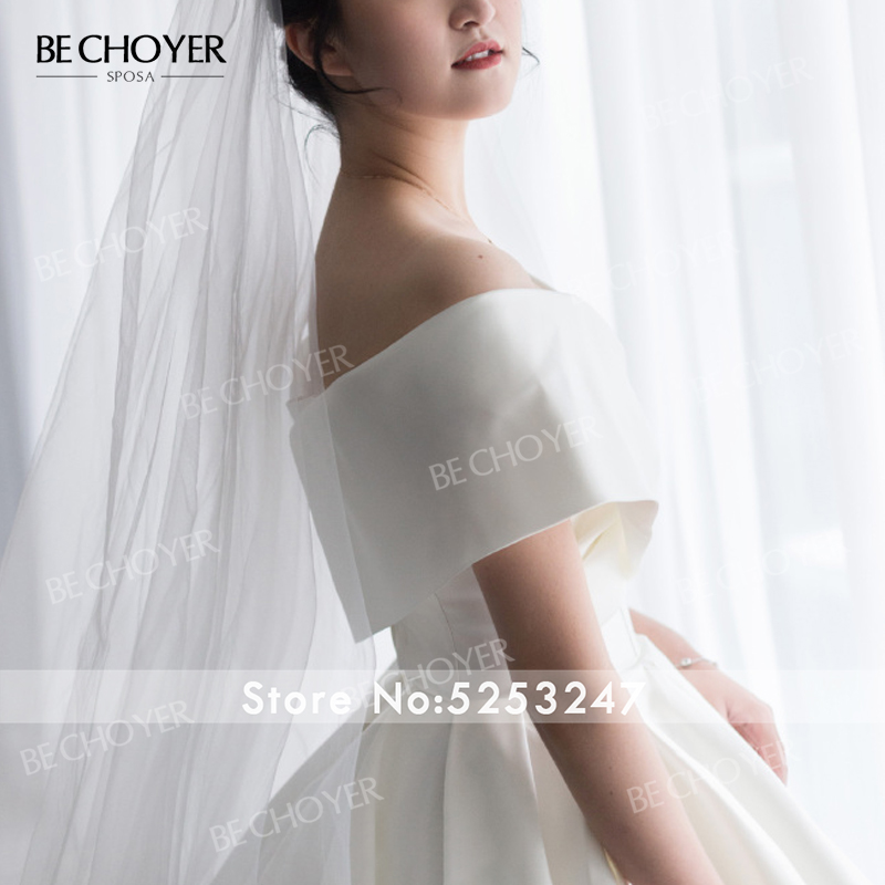 Image 5 - Simple Off Shoulder Wedding Dress BE CHOYER EL04 Satin Zipper A Line Court Train Princess Bride Gown Customized Vestido de NoivaWedding Dresses   -