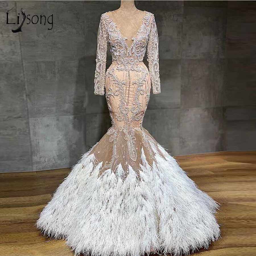 Gorgeous Feather Mermaid   Prom     Dresses   Full Sleeves 3D Lace Beaded Long   Prom   Gowns Vintage V-neck Formal   Dress   2020 Real Image