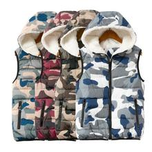 Cotton Winter Vest for Women Camouflage Print Female Woman Hooded Sleeveless Jackets 2019 Autumn Fleece Lining Womens