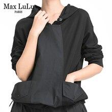 Max LuLu New European Style Ladies Autumn Black Sweatshirts Womens Casual Punk Fashion Hoodies Hooded Vintage Oversized Clothes