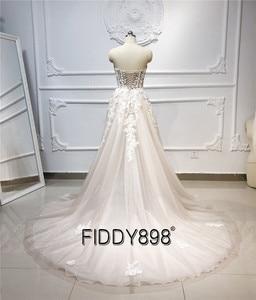 Image 2 - Beach Boho Wedding Dress 2020 Sweetheart Beaded Crystal Lace A Line Court Train Bridal Gowns Elegant Bohemian Bride Dresses