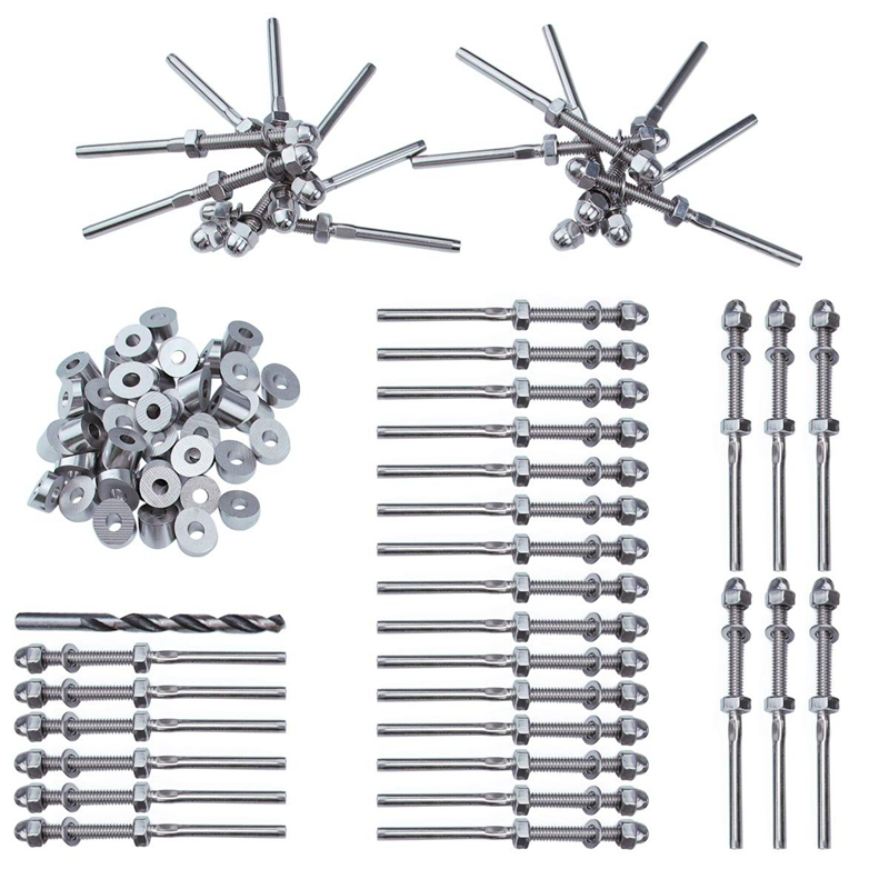 New 40Pairs 1/8 Inch Cable Railing Kits 30 Degree Angle Beveled Washer And Threaded Stud Tension End Fitting Terminal Combinatio