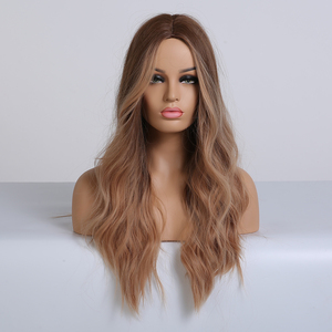 Image 5 - ALAN EATON Ombre Long Brown Red Wavy Wigs for Women Synthetic Wigs Cosplay Party False Hair Hightlight Middle Part Wigs
