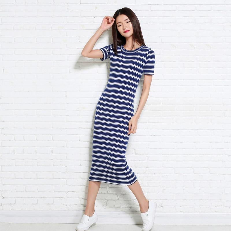 2016 Summer New Style Korean-style Short Sleeve Knitted Dress Dress Women's Long Navy Style Slimming Stripes Dress