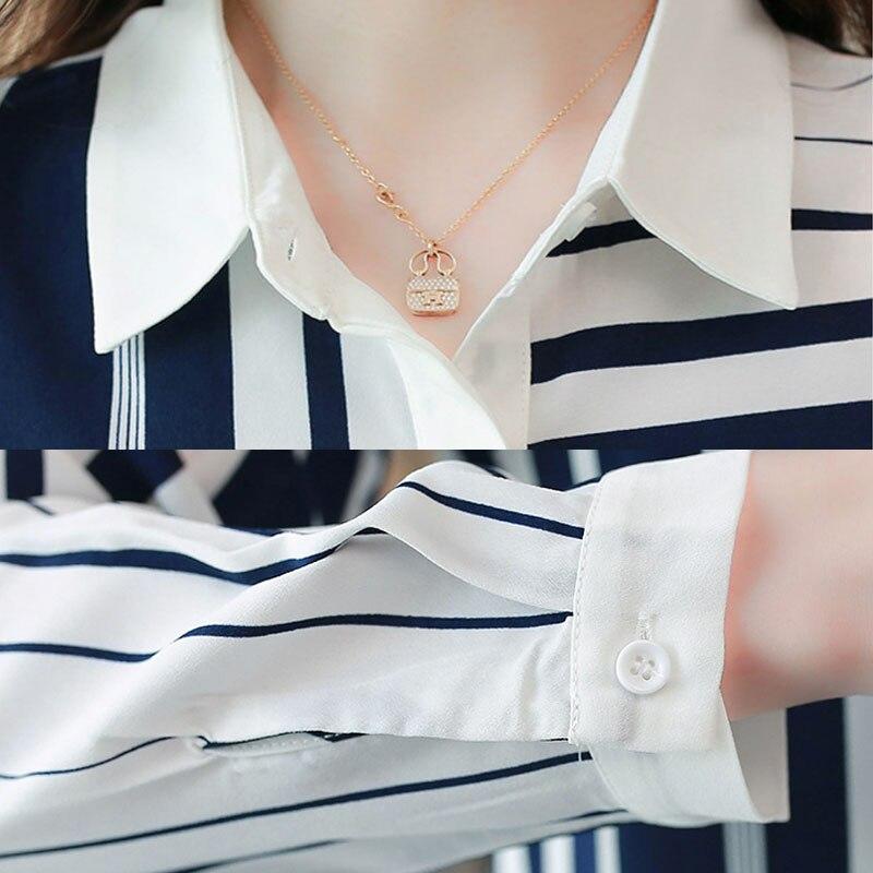 long-sleeved chiffon blouse striped 4