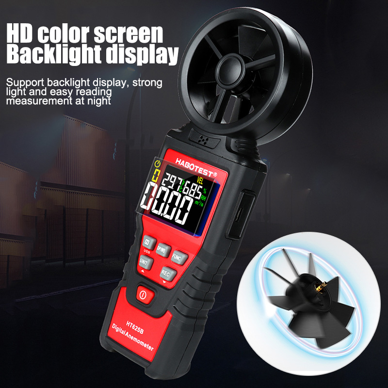 Portable LCD Digital Anemometer Thermometer Wind Speed Gauge Wind Meter Test Tool HT625B PUO88