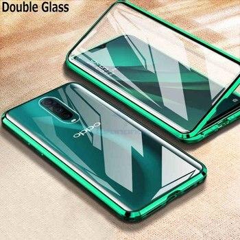 Перейти на Алиэкспресс и купить 360 магнитное закаленное стекло чехол для Oppo A52 A72 A92 A91 A9 2020 чехол противоударный металлический алюминий рамка чехол для OPPO Рино 3 Pro 2 Z