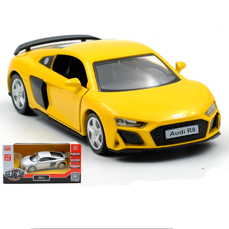 1:32 Audi R8 Alloy Pull-back car Diecast Metal Model Car Collection Children Gift sports car models Car Kids Toys Gift boy image