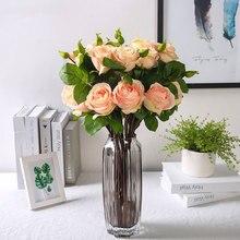 yumai 5pcs/set Roses Silk Flower Rose Artificial Flowers Bouquet Wedding Centerpiece Decoration Home party Indoor Decor