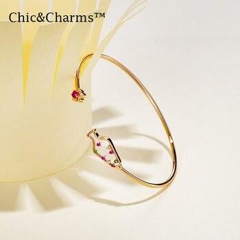 Armreifen Aus 14 Karat Gold | Chic & Charms 9K & 14K Echt Rose Gold Diamant Minium Blau Chinesischen Stil Edelstein Armreifen Für Frauen 2019 Freundschaft Wenig Frische