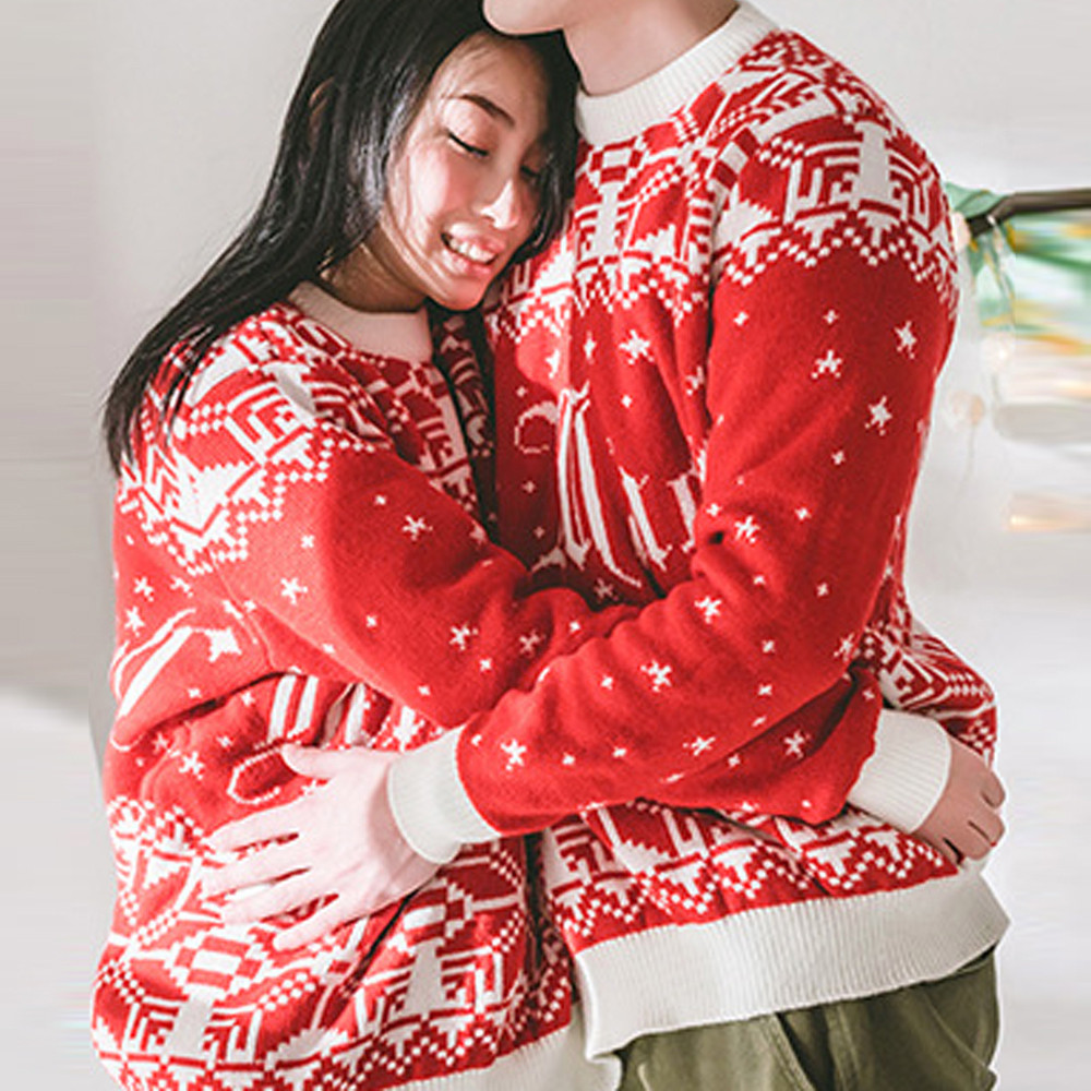 Christmas Winter Couples Sweater pullover Two Person Ugly Sweater Couples Pullover Novelty Christmas sweater for women Pull Femm
