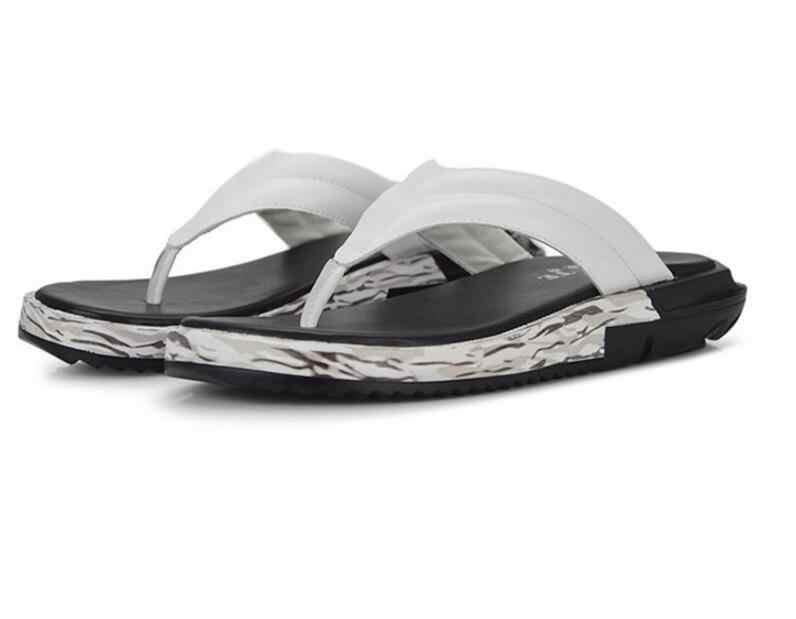 Degli uomini di marca di Scarpe di Cuoio Genuino Sandali di Vibrazione Degli Uomini di Cadute di Sfiato casual Pantofole Più Il Formato Estate Sapato Masculino